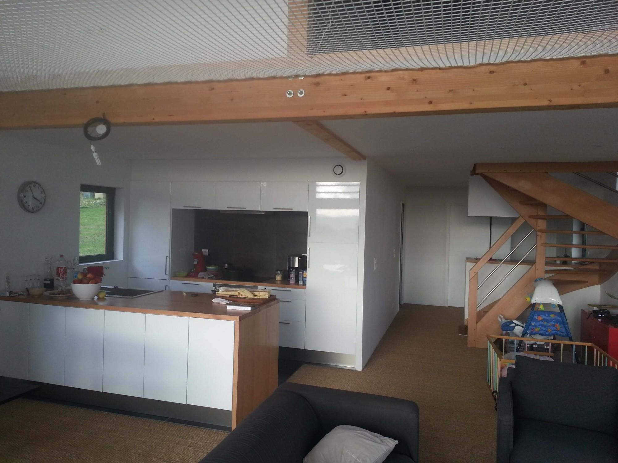 Faux plafonds et structure bois support de filet d for Plafond ossature bois